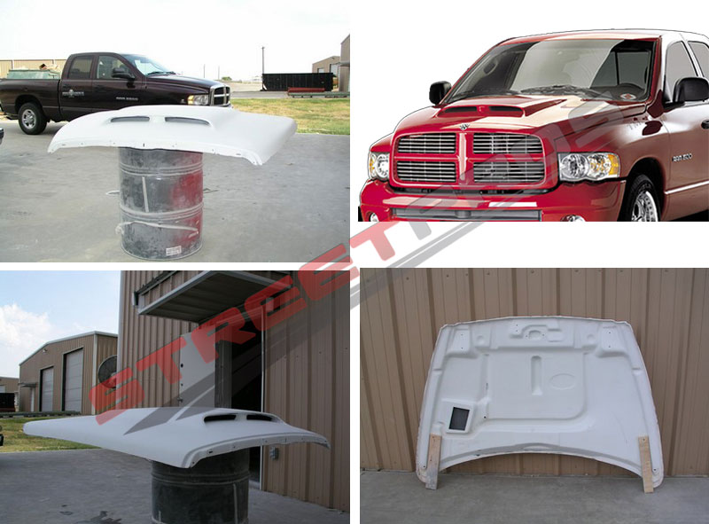 Streetpros Twin Scoop RAM Air Hood 02 08 Dodge RAM Part P020303